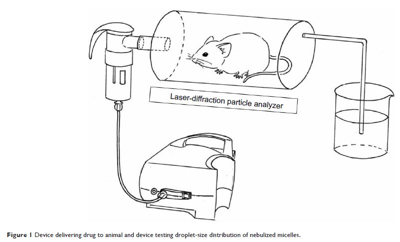 Figure 1 Device delivering drug to animal and device testing droplet-size distribution of nebulized micelles.